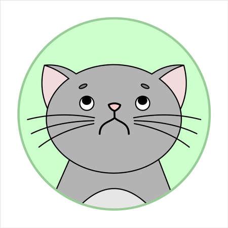 Simpatico gatto birichino e scontroso, icona rotonda, emoji. Perplessità, scontento. Gatto Grigio Con I Baffi Infelice, Immagine Vettoriale Isolato Su Uno Sfondo Bianco.
