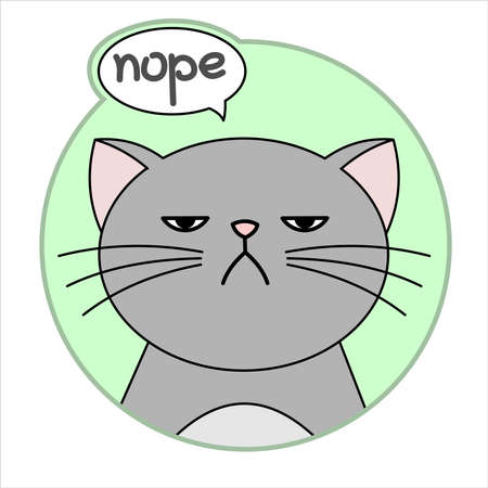 Cute Grumpy Cat, Round Icon, Emoji. Gray Cat With A Whiskers Is Unhappy, Says Nope. Cloud Talk, Bubble Speech. Lettering, Handwritten Word Nope. Vector Image Isolated On A White Background.