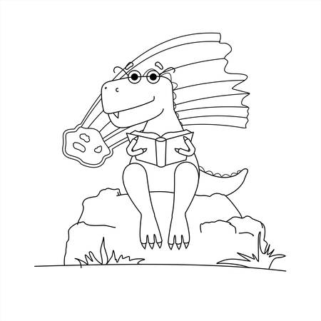 Contoured Dinosaur In Glasses Is Reading A Book. Smart Dinosaur On Background Of Falling Meteorite. A Tyrannosaurus With Glasses Sits On a Stone With a Book In its Paws. Vector Image Isolated On a White Background. Coloring Book page.
