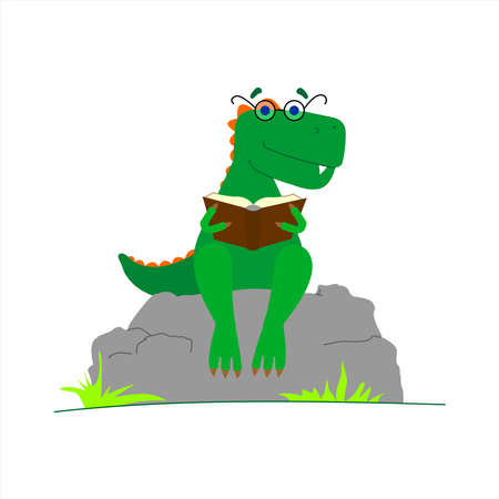 Dinosaur With Glasses Reading a Book. Smart Dinosaur. A Tyrannosaurus With A Crest On its Back and With Glasses Sits on a Stone With a Book in its Paws. Vector Image Isolated on a White background. Çizim