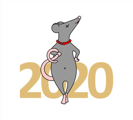 The Rat Is A Girl. An Important Rat With A Necklace Of Beads. Fashionable Mouse. Rat On The Background Of The Numbers 2020. Symbol Of 2020. Vector Illustration Isolated On A White Background.