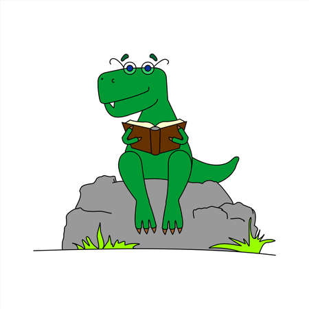 Dinosaur With Glasses Reading a Book. Smart Dinosaur. A Tyrannosaurus In Glasses Sits on a Stone With a Book in its Paws. Vector Image Isolated on a White background.