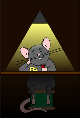 A Rat Sits In A Bar, Drinks Wine, Eats Cheese. Rat Behind The Bar. Cute Cartoon Character. The Mouse Sits On A Spool Of Thread. Symbol Of 2020. Vector Illustration. Illustration