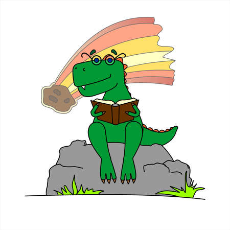 Dinosaur In Glasses Is Reading A Book. Smart Dinosaur On Background Of Falling Meteorite. A Tyrannosaurus With Glasses Sits On a Stone With a Book In its Paws. Vector Image Isolated On a White Background.