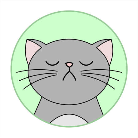 Cute Naughty, Grumpy Cat, Round Icon, Emoji. Gray Cat With A Whiskers Is Unhappy, Vector Image Isolated On A White Background. Иллюстрация