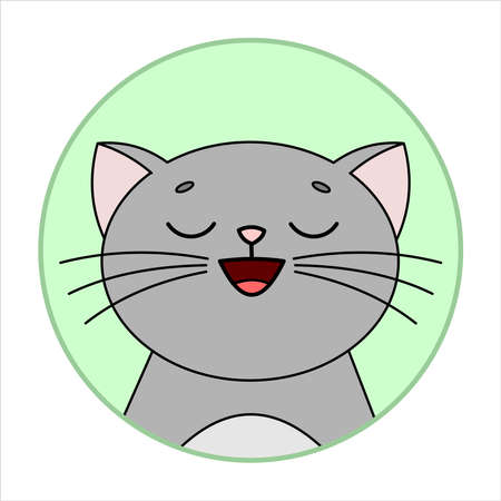 Cute Joyful Cat, Round Icon, Emoji. Gray Cat With Whiskers Smiles, Eyes Closed. Vector Image Isolated On A White Background.