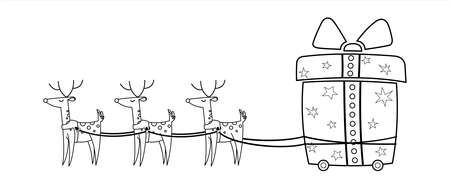 Christmas Deer Are Carrying Gifts. Cart In The Form Of A Gift On Wheels. Reindeer Harness. Cute Deer With A Big Nose. Vector Illustration. For Coloring Book Page.