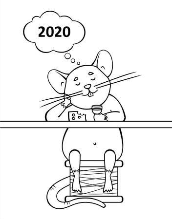 A Rat Sits In A Bar, Drinks Wine, Eats Cheese, Thinks Of 2020. Cloud For Thought. A Cute Cartoon Mouse Sits On A Spool Of Thread. Symbol Of 2020. Contour Vector Illustration. For Coloring Book Page.