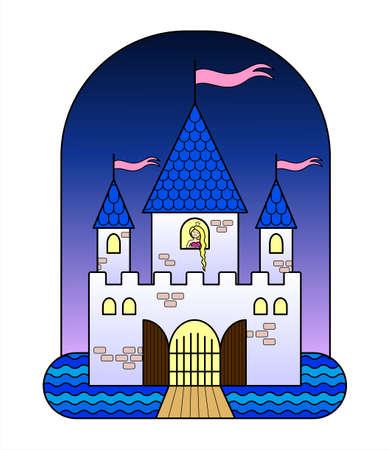 Château de conte de fées avec trois tours, avec une princesse, avec drapeaux, portes, douves, pont-levis. Château de conte de fées pour les filles. Une princesse triste aux cheveux longs attend un chevalier dans le château. Image vectorielle.