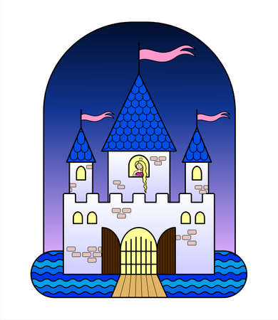 Fairytale Castle With Three Towers, With a Princess, With Flags, Gates, Moat, Drawbridge. Fairytale Castle For Girls. A Sad Princess With Long Hair is Waiting For A Knight In The Castle. Vector Image.