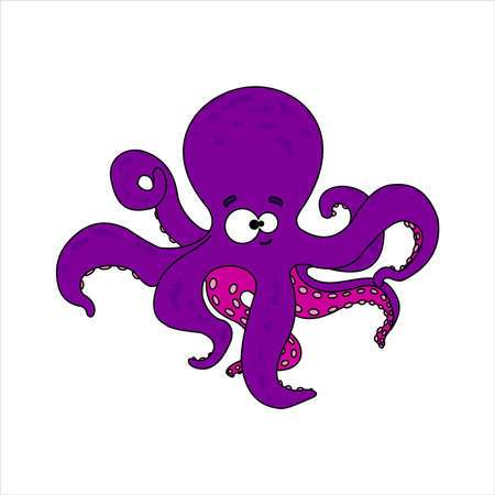 Octopus. Smiling octopus With Suckers On Tentacles. Friendly Octopus. Vector Image on white background. Ilustrace
