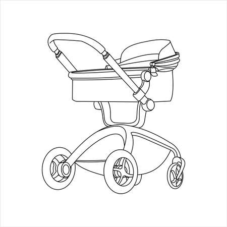 Preambulator, Pram, Baby Buggy, Go-cart, Baby Carriage, Pusher, Carriage, Stroller, Pushchair For Boy or Girl. For Coloring Book For Kids or Adults. Modern flat Vector Image Isolated on white background.