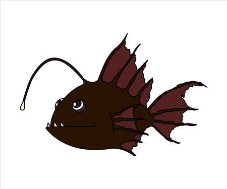Terrible and Funny Fish With a Flashlight. Anglerfish. Sea Fish. Modern flat Vector image Isolated on white background.
