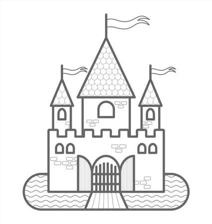 Château de conte de fées avec trois tours, avec drapeaux, portes, douves, pont-levis. Image vectorielle de contour. Pour le livre de coloriage pour enfants. Le contour d'un château médiéval. Le château stylisé.