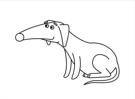Dog. Red-haired Dachshund With a Long Nose. Funny Dachshund Sitting. For Childrens Coloring Book. Outline Vector Image Isolated on white background.