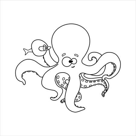Octopus. Smiling Octopus With Suckers on Tentacles. Holds a Tentacle Unhappy Fish. For Childrens Coloring Books. Outline Vector Image on white background.