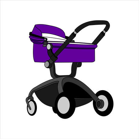 Preambulator, Pram, Baby Buggy, Go-cart, Baby Carriage, Pusher, Carriage, Stroller, Pushchair For Boy or Girl. Modern flat Vector Image Isolated on white background. Illustration