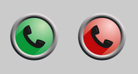 Vector image of red and green round buttons with phone handset isolated.