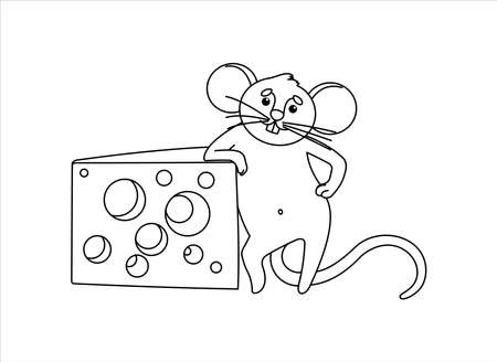 Mouse With Cheese. The Impudent Mouse Stands On Its Hind Legs, Rests On a Piece of Cheese With Holes. For Children's Coloring Book. Outline Vector Image isolated on white background.