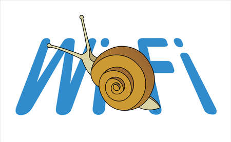 Snail On The Word Wi-Fi. Slow Internet Speed. Symbol of Slowness. Modern flat Vector illustration on white background. 일러스트