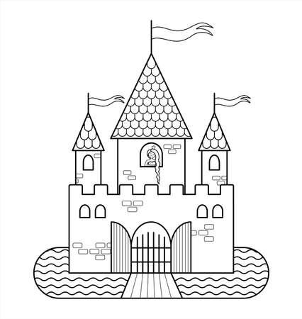Château de conte de fées avec une princesse, avec trois tours, avec des drapeaux, des portes, un fossé, un pont-levis. Décrire l'image vectorielle pour la coloration des enfants. Le contour d'un château médiéval. Princesse aux cheveux longs.
