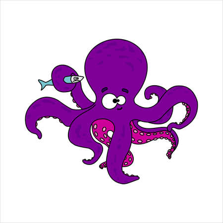 Octopus. Smiling octopus with suckers on tentacles. Holds a tentacle unhappy fish. Vector image on white background.