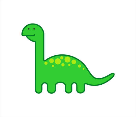 Cute Herbivorous Long-necked Dinosaur, Dino with a Long Neck. Diplodocus, Brachiosaurus, Brontosaurus. For Print. Modern flat Vector image Isolated on white background. Çizim