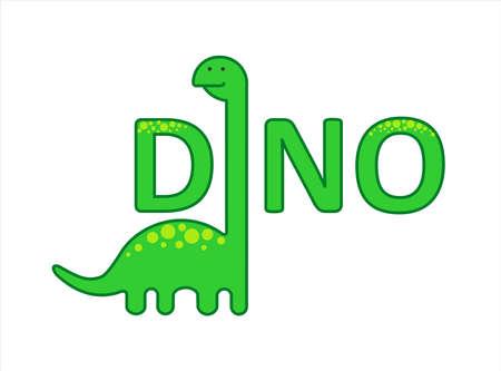 Cute Herbivorous Long-necked Dinosaur, Dino with a Long Neck. Diplodocus, Brachiosaurus, Brontosaurus. For Print. Modern flat Vector image Isolated on white background. Иллюстрация