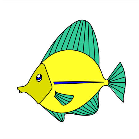 A Fish. Tropical, Aquarium Fish. Vector Image on white background.