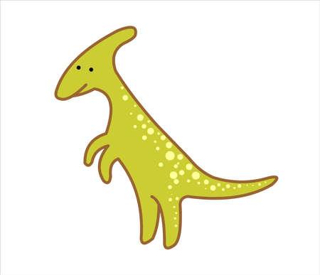 Cute Herbivorous Dinosaur, Dino. Parasaurolophus. For print. Modern flat Vector image Isolated on white background.