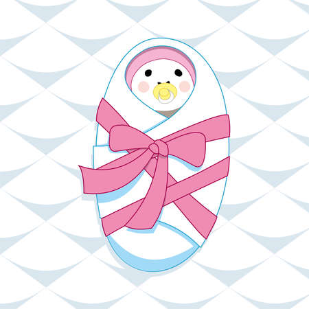 newborn baby girl with rosy cheeks, pink cap, yellow nipple, wrapped in a diaper, tied with pink ribbon, lying on a blanket. Its a girl!