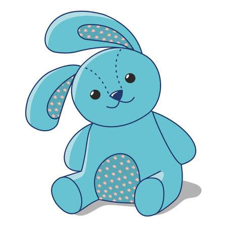 Coniglietto blu di stoffa su sfondo bianco, peluche