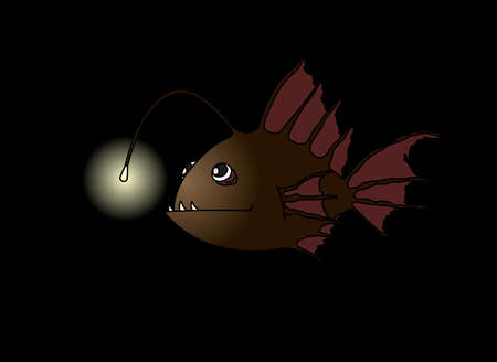Terrible and Funny Fish With a Flashlight. Anglerfish. Sea Fish With Bait In the Dark. Modern flat Vector image Isolated on white background.
