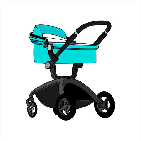 Preambulator, Pram, Baby Buggy, Go-cart, Baby Carriage, Pusher, Carriage, Stroller, Pushchair For Boy. Modern flat Vector Image Isolated on white background.