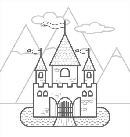 Fairytale Castle Against The Backdrop Of Mountains With Three Towers, With Flags, Gates, A Moat, Drawbridge. Outline Vector Image For Children's Coloring. The Contour Of A Stylized Medieval Castle. Vectores