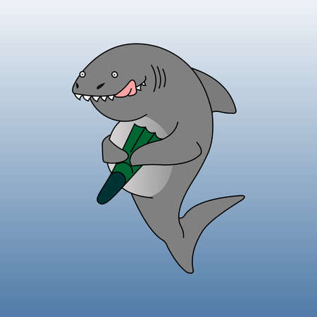 The Shark ate a Scuba Diver. A Funny shark. The Shark Smiles, Licks and Holds A Flipper in its Fins. Modern flat Vector illustration.