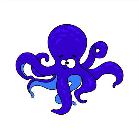 Octopus. Smiling blue octopus. Friendly Octopus. Vector image on white background. Ilustrace