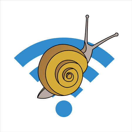 Snail On The Wi-Fi Sign. Slow Internet Speed. Symbol of Slowness. Modern flat Vector illustration on white background. 일러스트