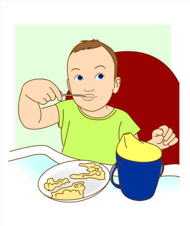 A small child himself eats with a spoon.