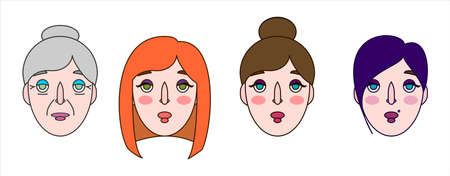 Stylized Female Face. Girl With A Formal Haircut; With Piercing; With Red Hair. Old Woman, Young Woman. Persons Of Women Of Different Ages, With Different Hairstyles. Vector Image on white background. 矢量图像