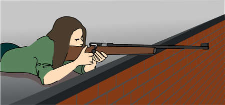 A young woman lying on the roof with a rifle takes aim. Vector illustration. Vectores