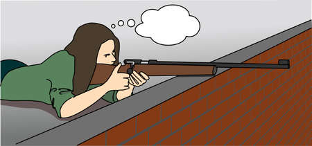 A young woman with a cloud for thoughts lies on the roof with a rifle and takes aim. Vector illustration.