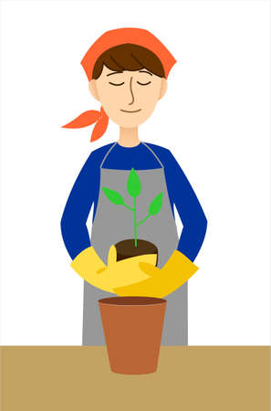 Portrait of a young woman wearing overalls planting a plant in a flower pot. A girl in an apron, a headscarf and gloves transplants a flower or tree. Modern flat vector illustration isolated on white background.