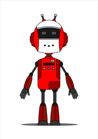 Red Friendly Android Robot Character With Two Antennas.