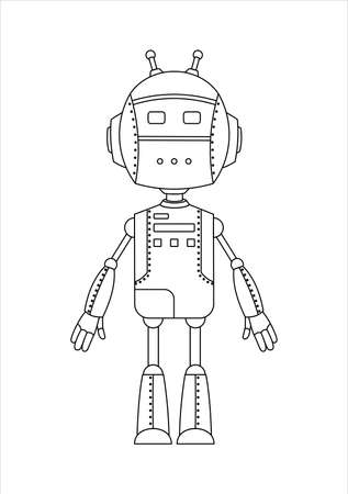 Outline Friendly Android Robot Character With Two Antennas.