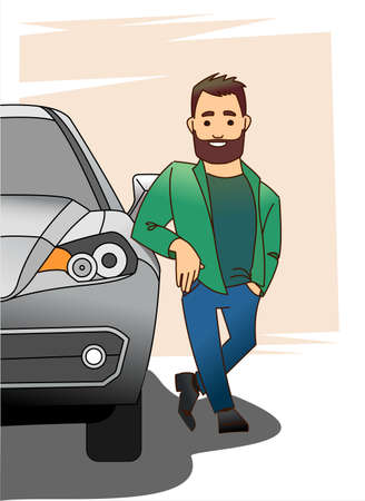A man with a beard in an unbuttoned jacket or shirt is leaning his elbow on the hood of the car, the other hand in his pants pocket. Half car, front view. Modern flat vector illustration.