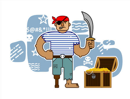 One-eyed Pirate With A Saber, In A Bandana, With A Wooden Prosthetic Leg, Cartoon Character. Angry Pirate With A Chest Of Gold. For Halloween. For Printing On Fabric, T-shirt, Print For Textiles, Banners, Posters. 向量圖像