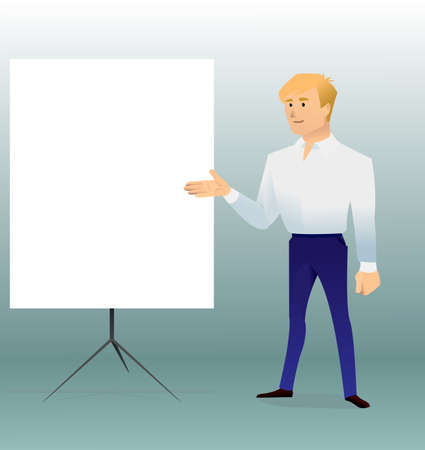 business teacher, man giving a lecture or presentation, front view of whiteboard, for your design, modern flat style, cartoon character, vector illustration