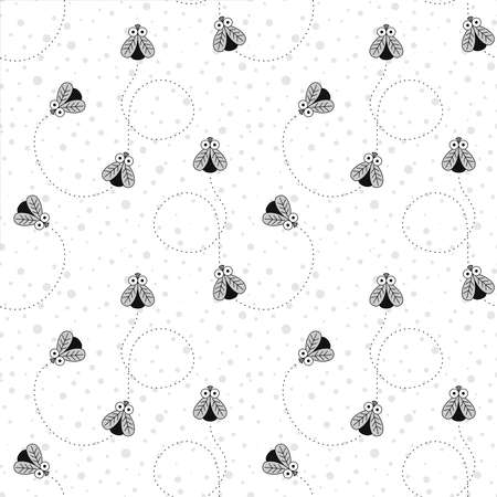 Seamless Pattern With Insects. Pattern With Flies and A Trajectory of Movement. Vector Black and white Fly pattern. Foto de archivo - 137492508
