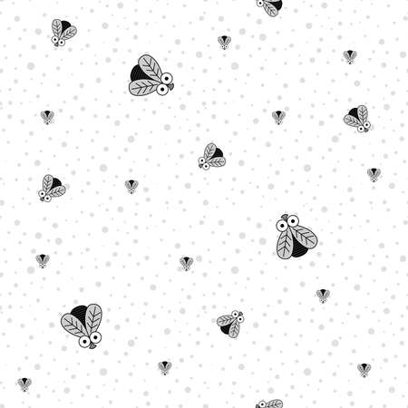 Seamless Pattern With Insects. Fly. Vector Black and white pattern of Flies of Different Sizes. Foto de archivo - 137492516